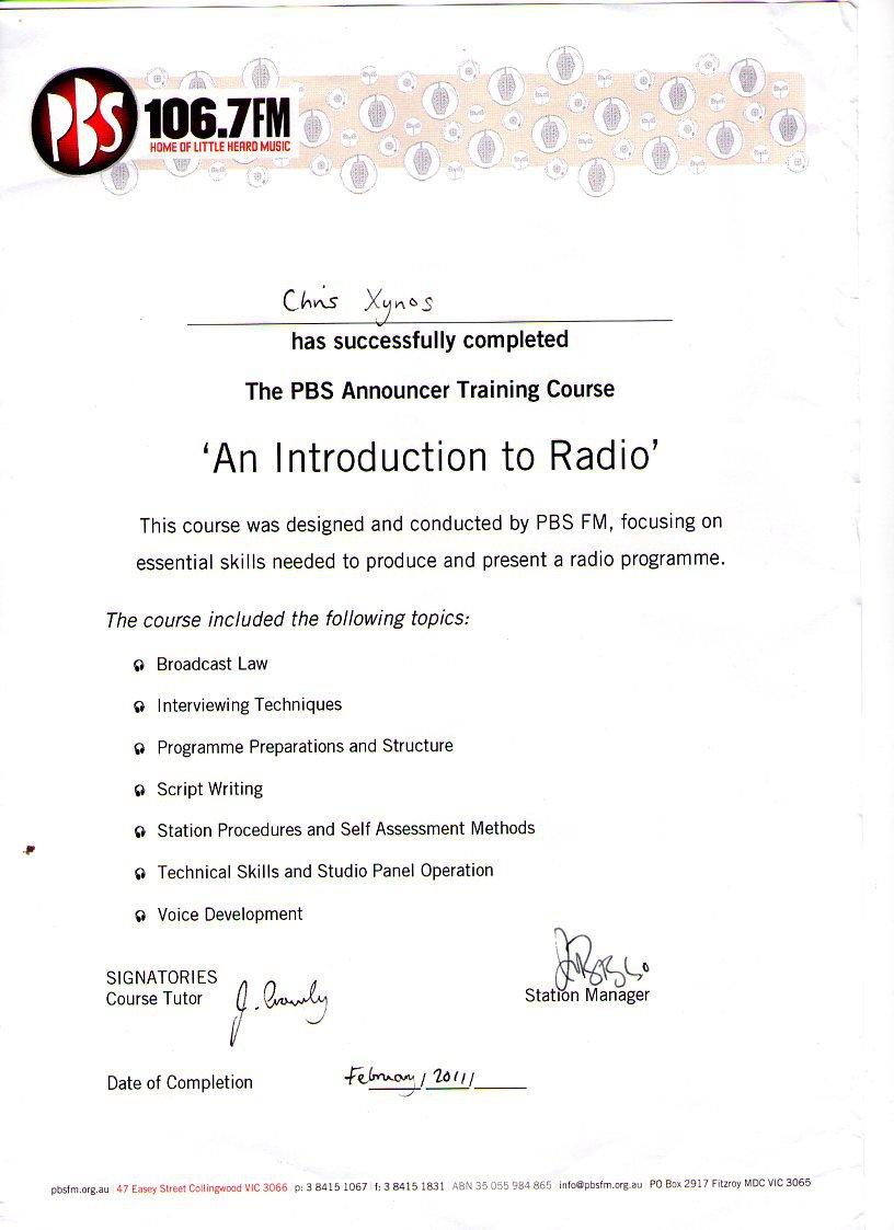 Announcer Course Certificate
