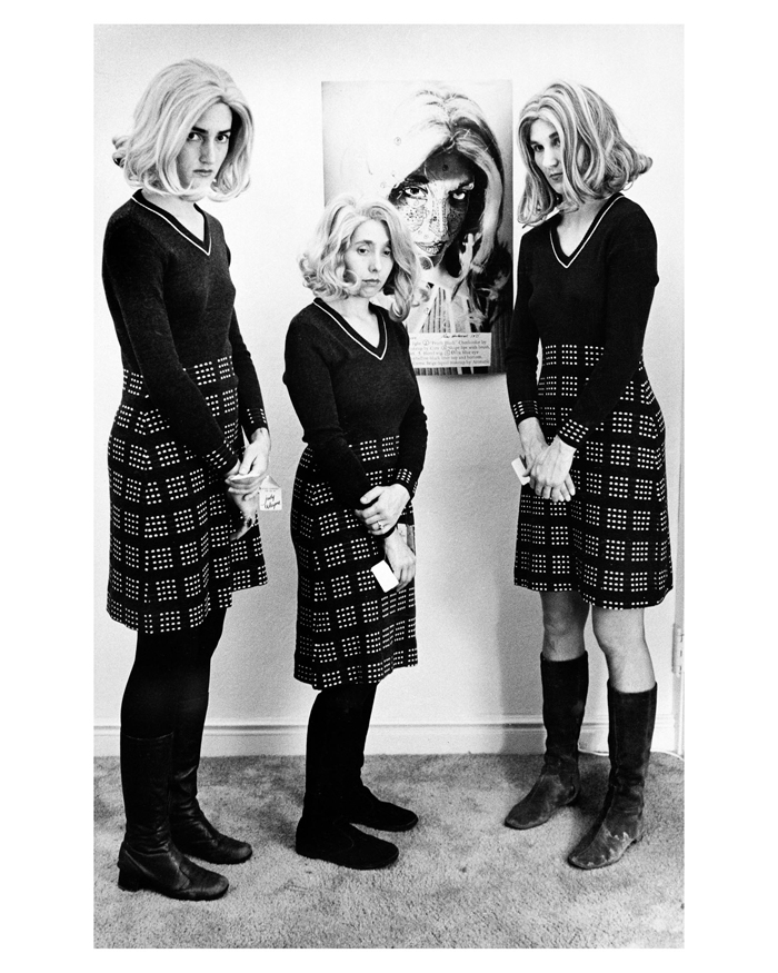 Lynn Hershman, Roberta Multiples Gather at de Young Exhibition in front of Construction Chart (left to right: Michelle Larson, Helen Dannenberg, and unidentified Roberta impersonator), 1978